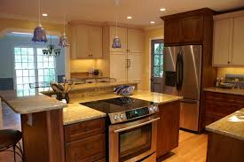 Painted And Stained Kitchen Cabinets | raleigh kitchen remodel cozy mix of paint and stained cabinetry