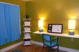 kids room minimalist loft with yellow bunk bed and gallery green