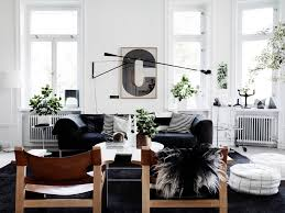 Black Sofa Living Room Black Leather Sofa Decorating Ideas Interior Design And White