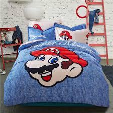 Brothers Bedding Super Mario Kids Bedding Set Blue U0026 Beige Reversible Duvet Cover