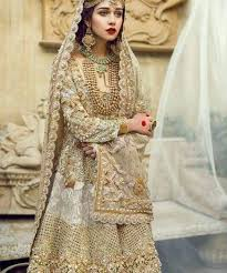 beautiful dress dull golden beautiful embroidered dress for walima reesha thredz