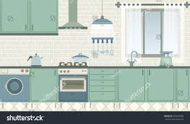 Kitchen Green Kitchen Colors Stock Green Kitchen Front View Retro Style Stock Vector 544434466
