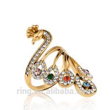rings design gold austrian peacock women rings design animal fashion