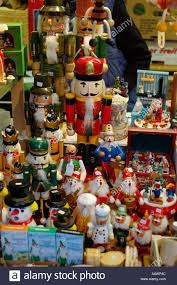 traditional wooden toys for sale from a stall in christmas market