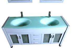 Glass Vanity Countertop Amriel 63 In Double Vanity In Breath Gray Blue With Tempered