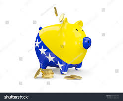 Flag Of Bosnia Piggy Bank Flag Bosnia Herzegovina Coins Stock Illustration