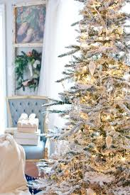 a perfect flocked christmas tree french gold and white decor ideas