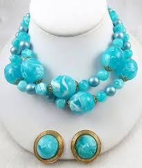 beads necklace sets images Aqua swirl beads necklace set garden party collection vintage jpg