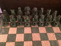 antique wood and stone mayan mexican chess set worthgalleries com
