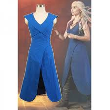 Daenerys Targaryen Costume Game Of Thrones Daenerys Targaryen Linen Blue Dress Cosplay
