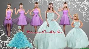cheap sweetheart beading quinceanera dress and lilac short prom