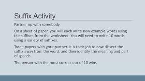 suffixes goals detect part of speech suffix creates identify