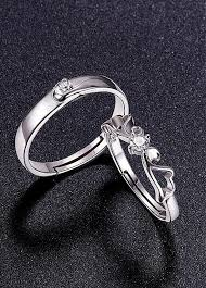 platinum sterling rings images Buy discount 925 sterling silver couple rings aaa zircon jpg