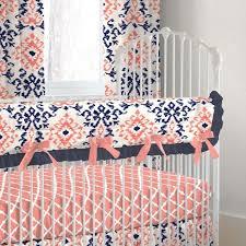 Preppy Crib Bedding Nursery Beddings Preppy Coral And Navy Baby Bedding With Navy