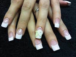 nails by laurie paling french tips with acrylic overlay and 3d