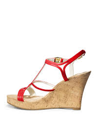 michael michael kors cicely wedge sandal in red lyst