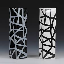 Black And White Vases Black And White Lines Fashion Floor Vase Fashion Accessories