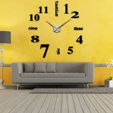 creative clocks diy large watch wall clock modern design creative stickers mirror