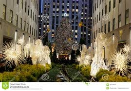 decorations and tree at the rockefeller