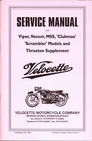 velocette venom viper and clubman thruxton service repair manual