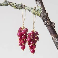 ruby drop earrings ruby grapestyle drop earrings by rochelle shepherd jewels gold