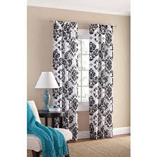 Teal Damask Curtains Black And White Damask Curtain Panel Set Of 2 40x84