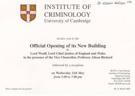 Official Invitation Card Institute Of Criminology The U0027sherlock Holmes Chair U0027 Royal Society