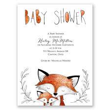 boy baby shower invitation woodland fox by kirrareynadesigns