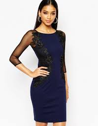 lipsy lace applique bodycon dress with sheer sleeve in blue lyst