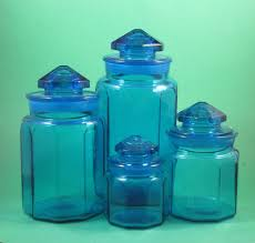 Clear Plastic Kitchen Canisters Set Of 4 Vintage Colonial Cobalt Blue Glass Apothecary L E Smith