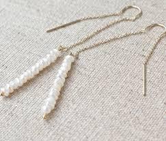 minimal earrings pearl thread earrings seed pearl threaders 14k gold dainty