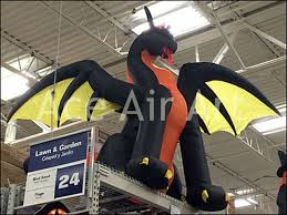 halloween cartoon inflatable animated fire dragon for sample