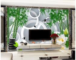 online buy wholesale bamboo wall murals from china bamboo wall 3d wall murals wallpaper custom picture mural wallpaper simple 3d circle bamboo forest murals lotus tv