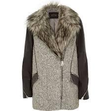 grey faux fur woolen biker coat coats coats jackets women