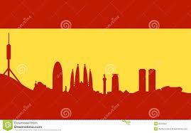 Spainish Flag Barcelona Skyline On Spanish Flag Stock Vector Image 8518331