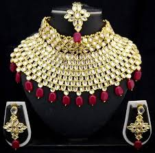 bridal necklace earrings images Buy charming jewelry pearl kundan choker bridal necklace earrings jpg