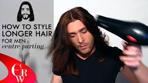 center part mens hairstly long hair for men centre parting how to styling tutorial