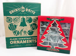 pair of shiny brite large small christmas tree ornament boxes w