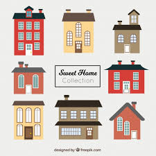 House Flat Design Set Of Beautiful Facades Of Houses In Flat Design Vector Free
