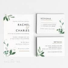 Wedding Invitations With Rsvp Cards Included Printable Wedding Invitation Set Modern Botanical Wedding