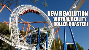 Theme Park Six Flags New Revolution Virtual Reality Roller Coaster Rider Cam Pov Six