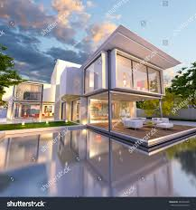 3d rendering beautiful modern villa pool stock illustration