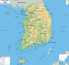 Map Of South Asia by Physical Map Of South Korea Ezilon Maps