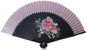 held fan held fan with pink silk fabric and painted black fretwork