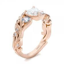 aquamarine and diamond ring custom three aquamarine and diamond engagement ring 102408
