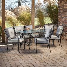 Patio Outdoor Furniture by Shop Hanover Outdoor Furniture Lavallette 7 Piece Minuit Glass