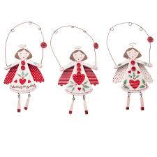 gisela graham christmas set of 3 nordic wooden angel christmas