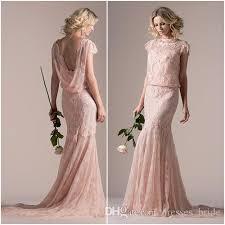 blouson wedding dress bohe style 2016 wedding dresses pink lace sheath wedding