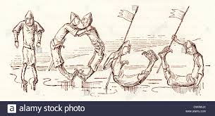 comic sketch by t s seccombe showing a norman soldiers making the