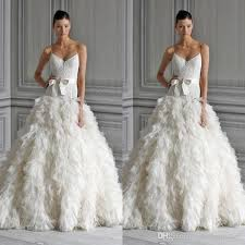 feather wedding dress discount lhuillier feather wedding dresses spaghetti